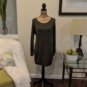 Hunter Green Tunic With Side Rouching